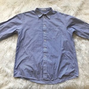 BURBERRYS OF LONDON BLUE WHITE STRIPED BUTTON DOWN